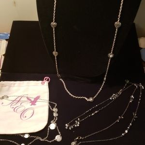 3 AEO silver necklaces hearts beads circles
